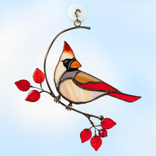 Load image into Gallery viewer, Female stained glass cardinal sitting on the branch with red leaves window hanging