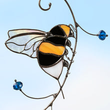 Load image into Gallery viewer, Zoomed bumblebee stained glass window hanging