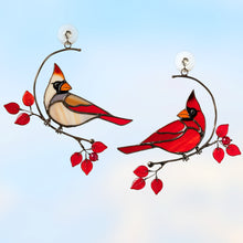 Load image into Gallery viewer, Stained glass male and female cardinals sitting on the two separate wire branches with red leaves suncatcher