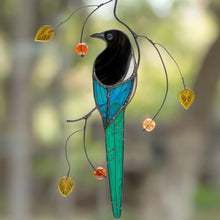 Load image into Gallery viewer, Zoomed stained glass magpie with long tail on the branch window hanging