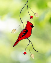 Load image into Gallery viewer, cardinal suncatcher made of stained glass