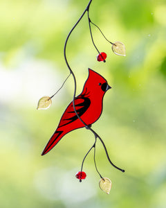 cardinal suncatcher made of stained glass