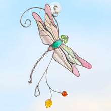 Load image into Gallery viewer, stained glass window hangings irridescent dragonfly suncatcher  Edit alt text