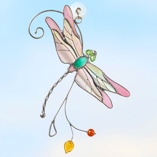 Stained glass irridescent-winged pink dragonfly suncatcher
