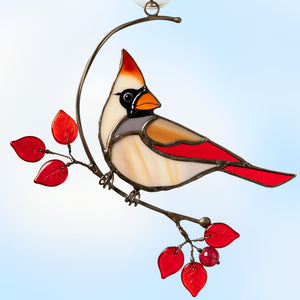 Stained glass female cardinal suncatcher