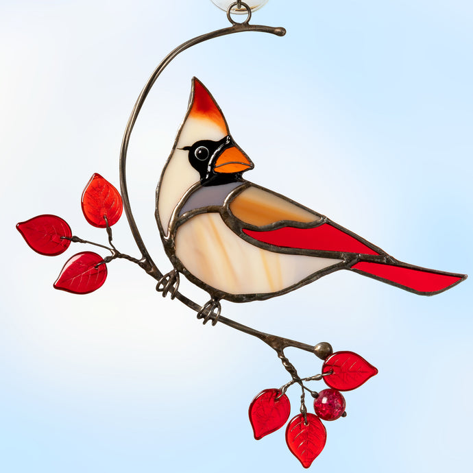 Stained glass female cardinal suncatcher for window decoration