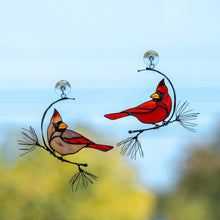 Load image into Gallery viewer, A pair of stained glass male and female winter redbirds suncatchers