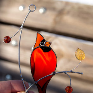 Zoomed stained glass cardinal bird suncatcher