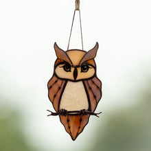 Load image into Gallery viewer, Sitting on the branch stained glass horned owl suncatcher