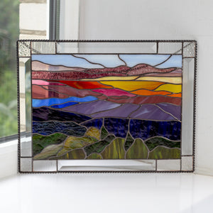 Stained glass panel depicting Blue Ridge Mountains landscape