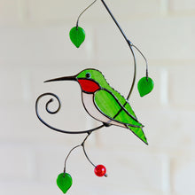 Load image into Gallery viewer, Green ruby-throated stained glass hummingbird suncatcher