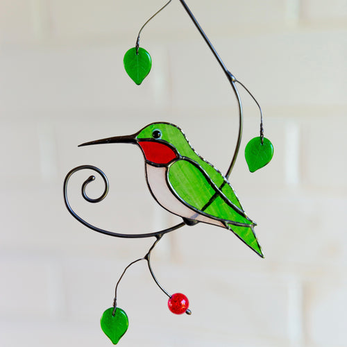 Green ruby-throated stained glass hummingbird suncatcher