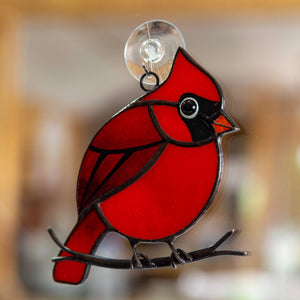 Red Cardinal stained glass window hanging
