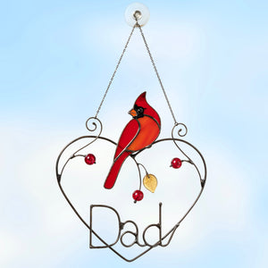 Stained glass personalized for dad cardinal window hanging
