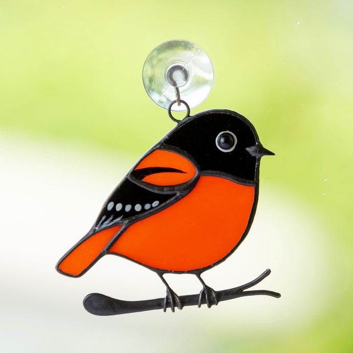 Stained glass Baltimore oriole suncatcher