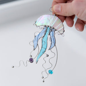 Stained glass jellyfish with blue tentacles suncatcher
