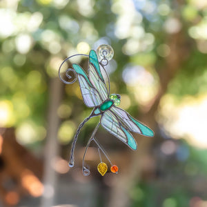 Green with iridescent wings stained glass suncatcher