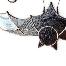 Load image into Gallery viewer, Snout of stained glass black bat suncatcher