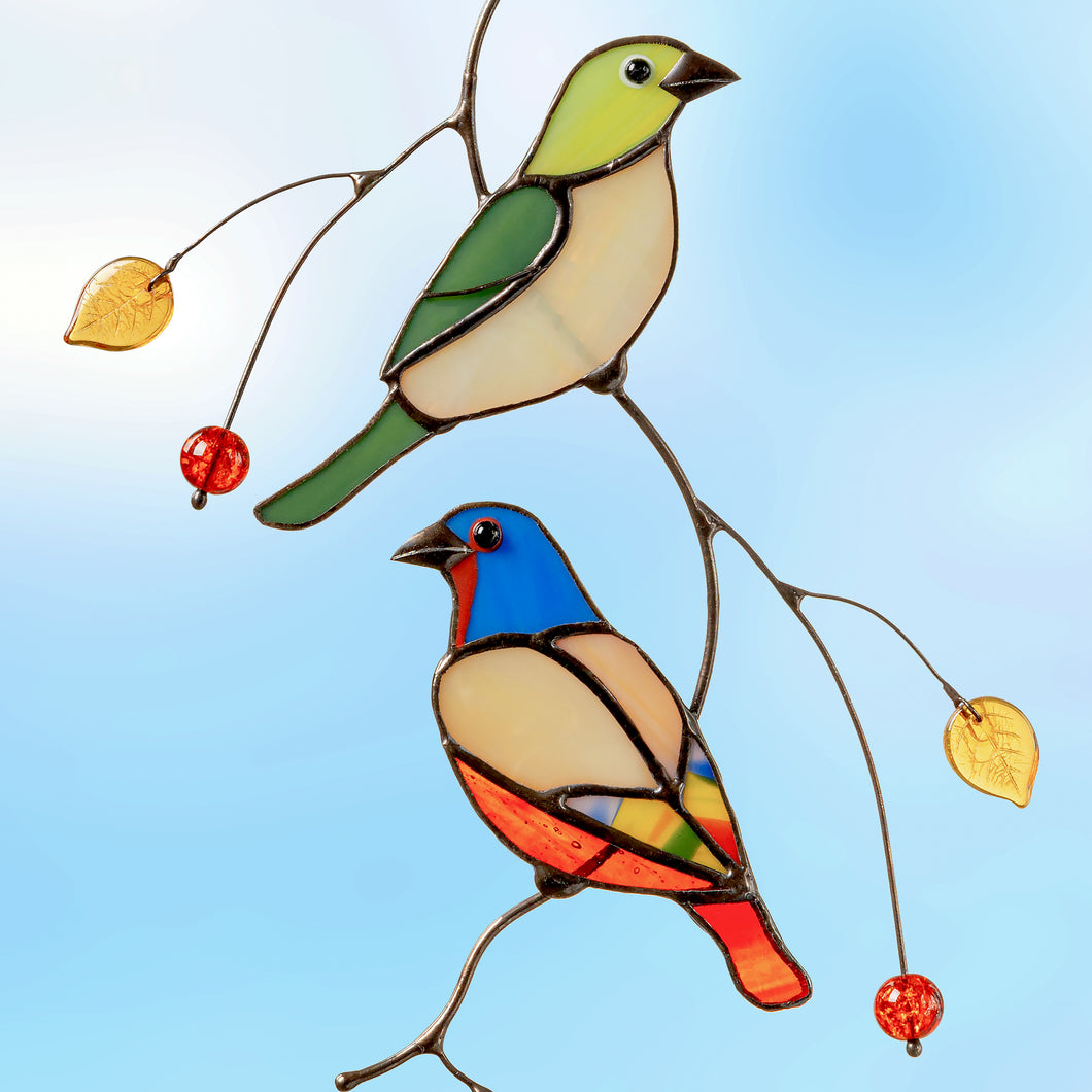 Bunting birds on the branch - stained glass window hangings  Edit alt text