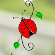 Load image into Gallery viewer, Top-view stained glass ladybug with leaves window hanging