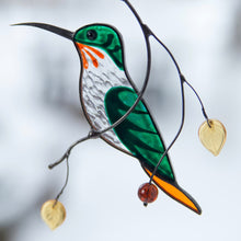 Load image into Gallery viewer, Zoomed stained glass lower hummingbird suncatcher