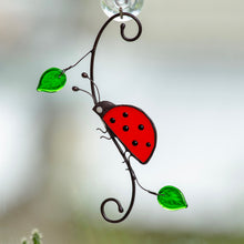 Load image into Gallery viewer, Stained glass ladybug side-view window hanging