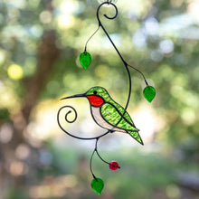 Load image into Gallery viewer, Green hummingbird sitting on the branch with leaves and berries suncatcher of stained glass