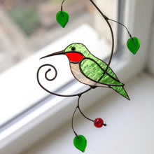 Load image into Gallery viewer, Zoomed stained glass green hummingbird on the branch window hanging