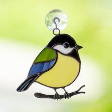 Load image into Gallery viewer, Sitting on the branch chickadee of stained glass