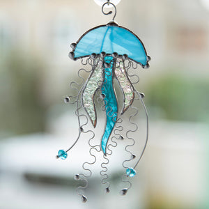 Stained glass blue jellyfish with clear tentacles suncatcher for window decoration