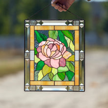 Load image into Gallery viewer, Stained glass pink peony wall window hanging panel