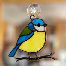 Load image into Gallery viewer, Sitting on the branch chickadee stained glass window hanging