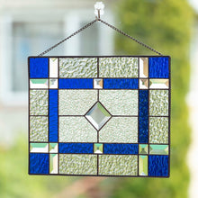 Load image into Gallery viewer, Stained glass clear and cobalt panel with beveled inserts for window