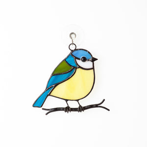 Blue chickadee stained glass suncatcher
