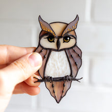 Load image into Gallery viewer, Suncatcher of a stained glass horned owl on the branch