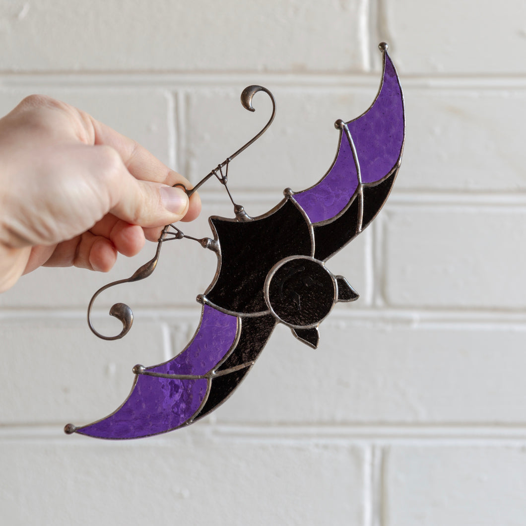 Purple-winged stained glass bat suncatcher for Halloween day