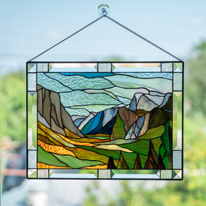 Stained glass panel depicting Yosemite national park for home decor