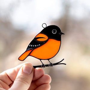 Stained glass Baltimore oriole window hanging