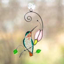Load image into Gallery viewer, Stained glass suncatcher Hummingbird with Orange Flower