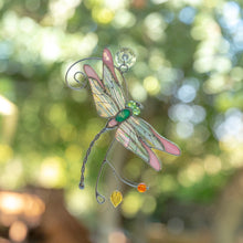 Load image into Gallery viewer, Pink stained glass dragonfly with iridescent wings suncatcher