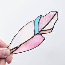 Load image into Gallery viewer, Stained glass pink with a blue part feather suncatcher