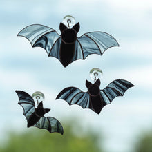 Load image into Gallery viewer, Three stained glass vampire bats Halloween creepy suncatchers