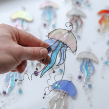 Load image into Gallery viewer, White stained glass jellyfish with blue tentacles window hanging