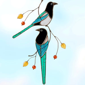 Two stained glass magpies suncatcher for window hanging