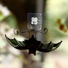 Load image into Gallery viewer, Black-and-clear stained glass bat suncatcher for Halloween celebrations