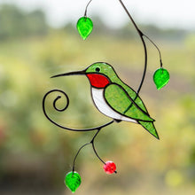 Load image into Gallery viewer, Stained glass green hummingbird with ruby throat suncatcher