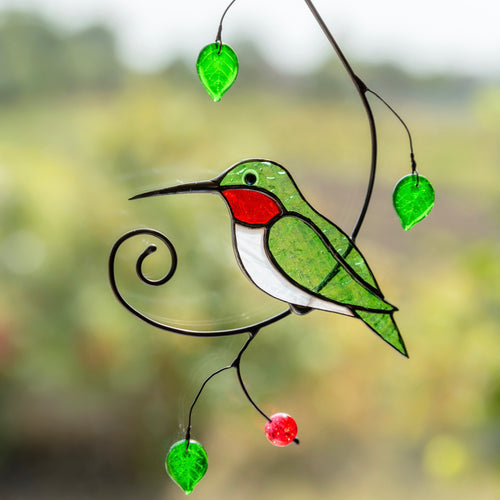 Stained glass green hummingbird with ruby throat suncatcher