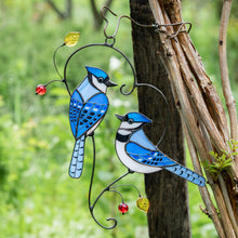 Load image into Gallery viewer, Stained glass bluejays suncatcher hanging on the tree