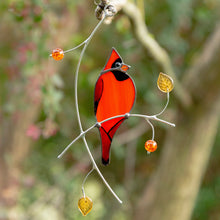 Load image into Gallery viewer, Stained glass Cardinal sitting on the branch suncatcher