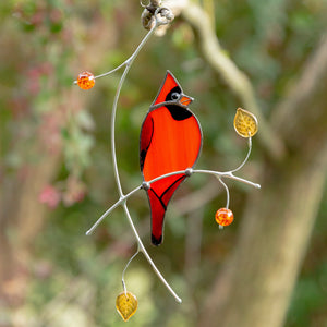 Stained glass Cardinal sitting on the branch suncatcher